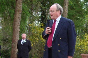 Sir Andrew Burns giving his address. - image courtesy of Betty McKernan